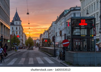 JULY 27, 2019 - COPENHAGEN, DENMARK: View to Frederiksborggade street and entrance to Norreport metro station in sunset