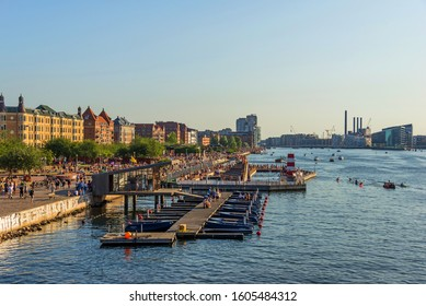 JULY 27, 2019:  Copenhagen waterfront with swimming place full od people