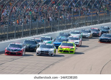 July 27, 2019 - Newton, Iowa, USA: Christopher Bell (20) and Chase Briscoe (98) battles for position for the U.S. Cellular 250 at Iowa Speedway in Newton, Iowa.