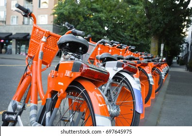 July 27th,, 2017 - Portland Oregon: Nike Biketown bicycle renting station in downtown Portland filled with loaner bikes.