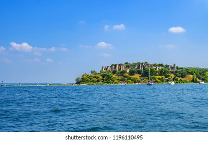 July 28, 2018 - Sirmione (Italy) - Catullo Caves - Ancient Roman Archaeological Site in Sirmione - Lake Garda (Italy)