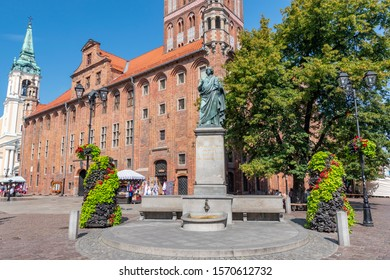 July 28,2019. Nicolaus Copernicus monument in front of city hall of Torun, Poland.