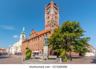 July 28,2019. Town hall and Copernicus monument in Torun old town Poland.