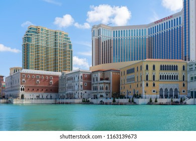 July 28th 2018, MACAO: Venetian hotel building in Italian architecture at waterfront, MACAO, CHINA