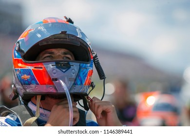 July 29, 2018 - Long Pond, Pennsylvania, USA: Darrell Wallace, Jr (43) races through the tricky triangle at the Gander Outdoors 400 at Pocono Raceway in Long Pond, Pennsylvania.