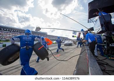 July 29, 2018 - Long Pond, Pennsylvania, USA: Matt Kenseth (6) makes a pit stop during the Gander Outdoors 400 at Pocono Raceway in Long Pond, Pennsylvania.