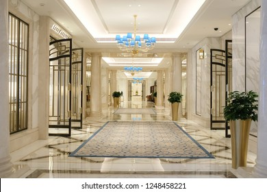 JULY 29TH 2018, MACAO: Hotel entrance hall decorated in modern contemporary and luxury interior, RITZ CARLTON HOTEL, CHINA