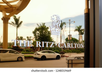 JULY 29th 2018, MACAO: RITZ CARLTON Hotel logo in front of an entrance to the hotel, CHINA