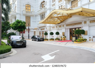 JULY 29th 2018, MACAO: RITZ CARLTON Hotel entrance with rolls-royce car parking in front, CHINA
