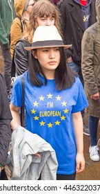 July 2nd 2016 Pro-EU rally St Helen's Square, York, England A Pro-EU supporter wearing a t-shirt with the slogan I'm European