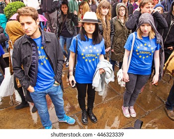 July 2nd 2016 Pro-EU rally St Helen's Square, York, England Three Pro-EU supporters wearing t-shirts with the slogan I'm European at the York Pro EU Rally