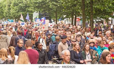 July 2nd 2016 Pro-EU rally Parliament Street, York, England  Crowds walking through York at the York Pro EU Rally