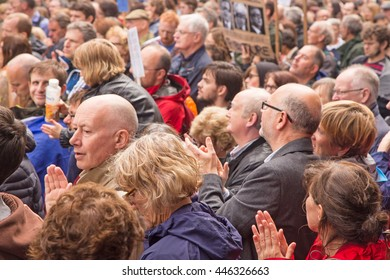 July 2nd 2016 Pro-EU rally St Helen's Square, York, England   Crowds applauding speakers at the York Pro EU Rally