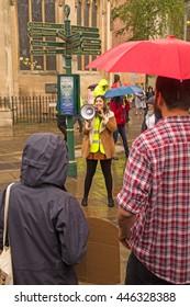 July 2nd 2016 Pro-EU rally St Helen's Square, York, England One of the organisers of the York Pro EU Rally; Student Sally Sidik