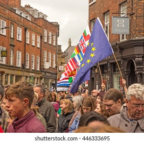 July 2nd 2016 Pro-EU rally St Helen's Square, York, England Flag carrying supporters of the York Pro EU Rally