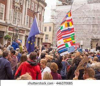 July 2nd 2016 Pro-EU rally Coney Street, York, England  Flag waving supporters of the York Pro EU Rally