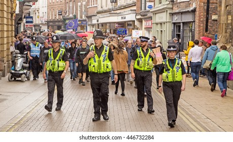 July 2nd 2016 Pro-EU rally  York, England  {Police supervising supporters of the York Pro EU Rally on their march through the city