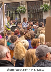 July 2nd 2016 Pro-EU rally  York, England  Supporters of the York Pro EU Rally listening to York Central MP Rachael Maskell