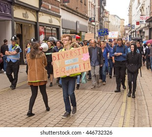 July 2nd 2016 Pro-EU rally  York, England  Supporters of the York Pro EU Rally marching through the city led by Sally Sidik, the organiser of the rally