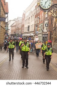 July 2nd 2016 Pro-EU rally  York, England  Police supervising supporters of the York Pro EU Rally on their march through the city