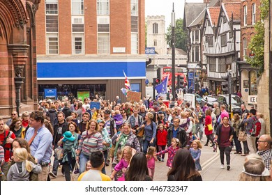 July 2nd 2016 Pro-EU rally  York, England  Supporters of the York Pro EU Rally marching through the city