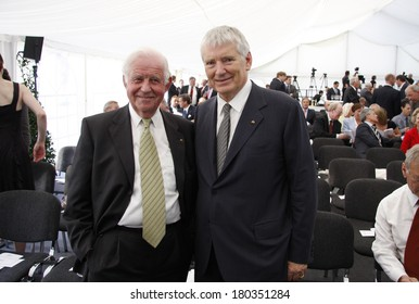 "JULY 3, 2008 - BERLIN: Kurt Biedenkopf, Otto Schily at the award ceremony of the ""Kissinger Prize"" in the American Academy, Berlin-Wannsee."