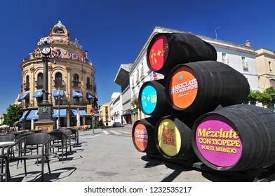 July 3, 2014. Gallo Azul square. Jerez de la Frontera, Cadiz province, Andalucia, Spain.