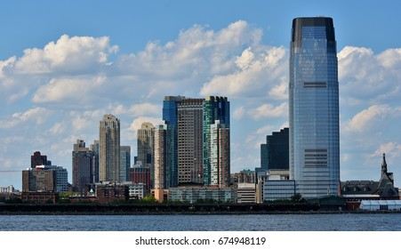 July 3, 2017; Jersey City, New Jersey, USA: The Goldman Sachs Tower and the skyline of Jersey City.