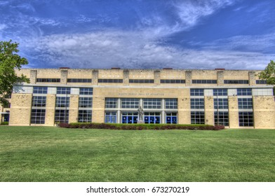 JULY 3, 2017:ALLEN FIELDHOUSE KU - LAWRENCE, KS - JAMES NAISMITH statue - founder of basketball. Building is home to ALLEN FIELDHOUSE - Kansas University Basketball Arena. JAYHAWKS. GO KU!