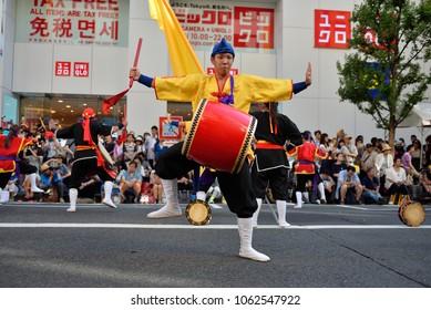 July 30, 2016 Drummer of Shinjuku Eisa Festival,Tokyo Japan.