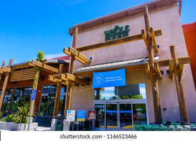 July 30, 2018 Cupertino / CA / USA - Whole Foods store displaying an ad for Prime Member Deals above the entrance