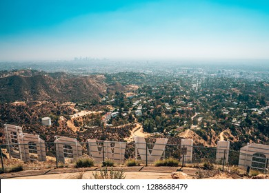 July 30, 2018. Los Angeles, USA. View on the downtown of LA from the iconic Hollywood sign.