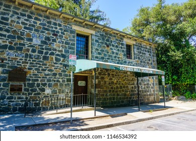 July 30, 2018 Los Gatos / CA / USA - Entrance to the Forbes Mill Museum located in the remains of the historical Forbes Flour Mill, south San Francisco bay area