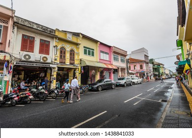 July 30, 2018, Phuket town, Thailand: Soi Rommanee street. Phuket old town with old buildings in Sino Portuguese style also called Chinatown is a very famous tourist destination of Phuket.