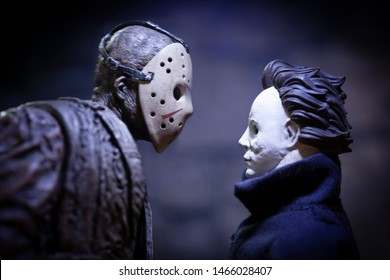 JULY 30 2019: Friday the 13th slasher Jason Voorhees and Halloween Michael Myers - NECA Ultimate Jason action figure - custom Myers figure using Funko Savage head