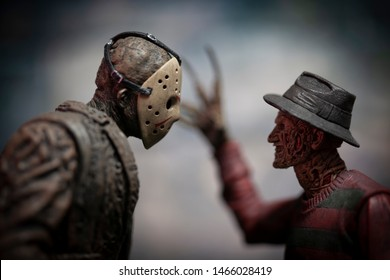 JULY 30 2019: Friday the 13th slasher Jason Voorhees and Nightmare on Elm Street Freddy Kruger - NECA Jason and Freddy action figure