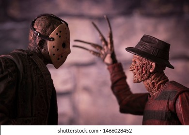 JULY 30 2019: Friday the 13th slasher Jason Voorhees and Nightmare on Elm Street Freddy Kruger - NECA Ultimate Jason and Freddy action figure