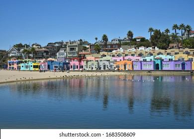 July 30, 2019. Panoramic view of the Venetian Court, a colorful residential complex in Capitola Beach Santa Cruz, California USA.