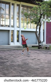 """July 31, 2016 : Athletes is playing Hoop takraw In thai call """"tra kron ot huang"""" is a famous for sport in Thailand at Chatuchak Park in the evening, Bangkok, Thailand on July 31, 2016"""