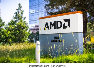 July 31, 2018 Santa Clara / CA / USA - AMD logo at the entrance to the offices located in Silicon Valley, south San Francisco bay area