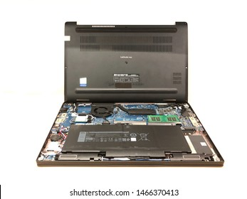 July 31, 2019 Bangkok. Dell Latitude laptop case is open waiting for the service engineer to fix it motherboard.