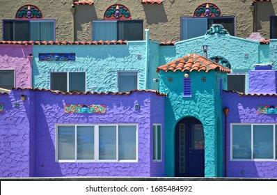 July 31, 2019. Traditional Venetian Court colorful houses in Capitola Beach, Santa Cruz California, USA.