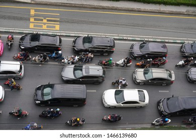 July 31,2019 Bangkok in Thailand: Traffic in the morning of Sathorn Road, Bangkok of a Variety of company employees
