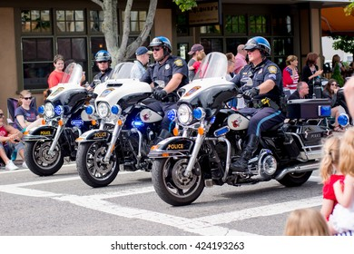 JULY 4 2015, BARNSTABLE COUNTY, MA, USA: police motorcycles on parade
