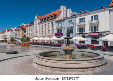 July 4, 2015. Fountain at the Kosciuszko Square in Bialystok, Poland.