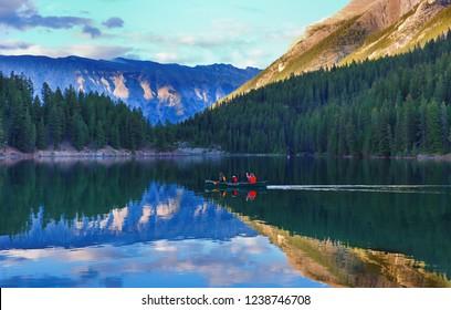 July 4, 2018 - Banff, Alberta, Canada: Kayaking at Two Jack Lake at sunset in Banff National Park, Alberta Canada