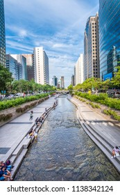 July 4, 2018: Cheonggyecheon Stream Park in Seoul, South Korea