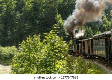 July 4, 2018 - Mocanita Steam Train in Vaser Valley, Bucovina, Romania