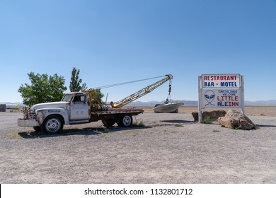 JULY 4 2018 Rachel, NEVADA: Famous tow truck with UFO roadside attraction in Rachel, Nevada, along the Extraterrestrial Highway (SR 375), near Area 51