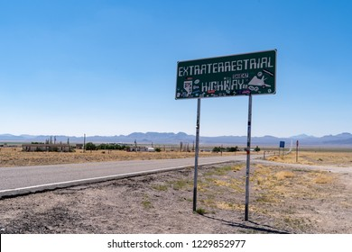 JULY 4 2018 - RACHEL, NEVADA: Landmark sign for the Extraterrestrial Highway is covered in stickers from tourists exploring this stretch of road known for Area 51 and UFO sightings